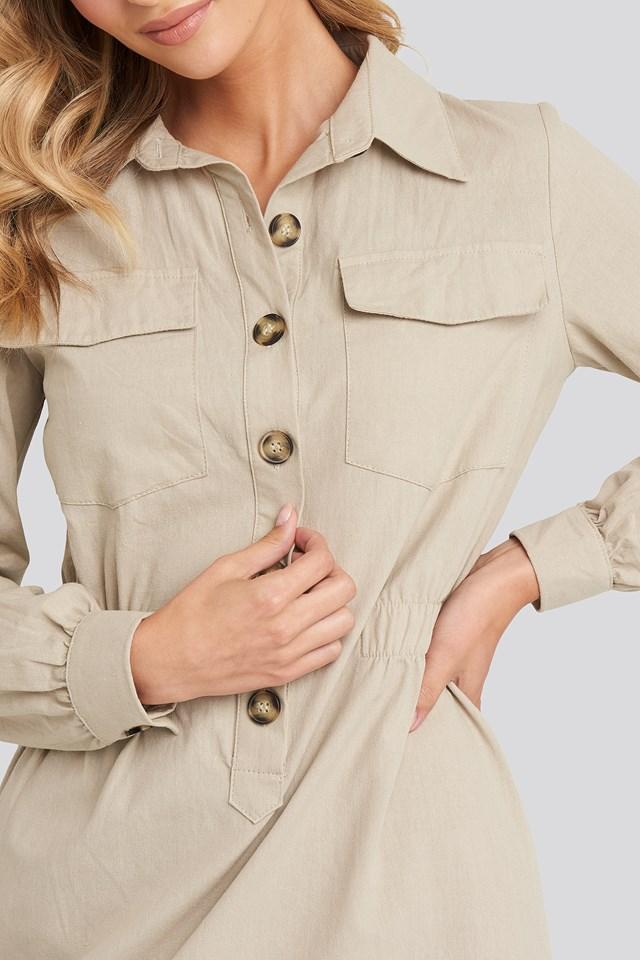 Mini Buttoned Shirt Dress Beige