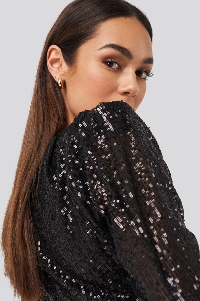 Mini Draped Sequin Dress Black
