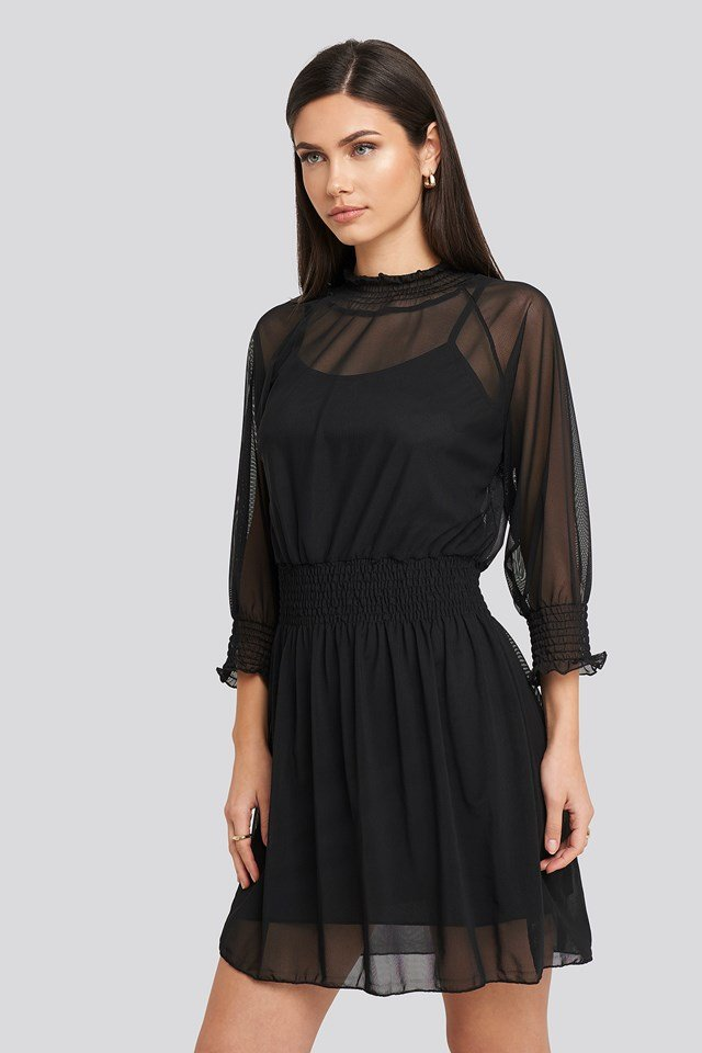 Mini Mesh Dress Black