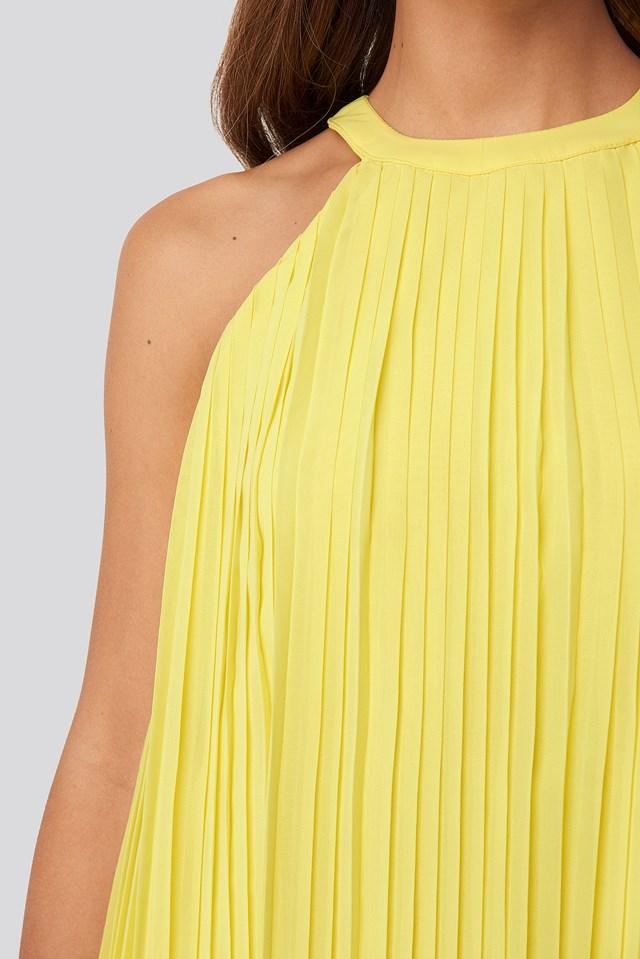 Mini Pleated Detail Dress Yellow
