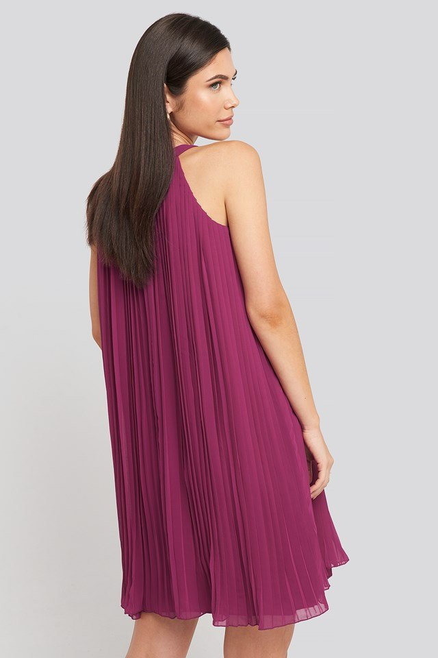 Mini Pleated Detail Dress Fuchsia