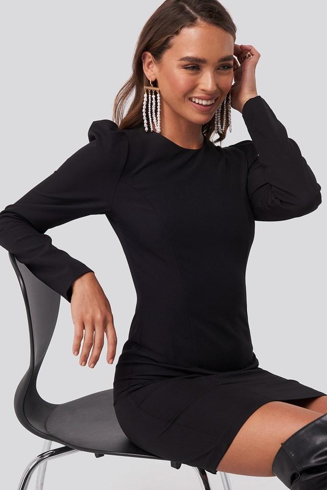 Mini Puff Sleeve Dress Black