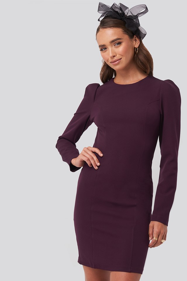 Mini Puff Sleeve Dress Damson