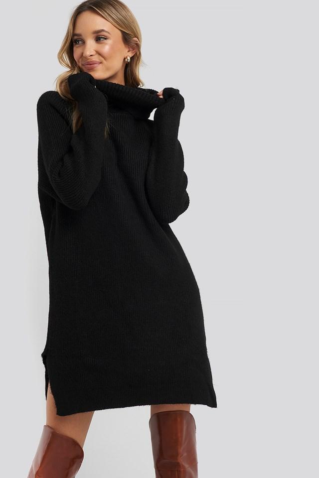 Mini Turtleneck Knitted Dress Black