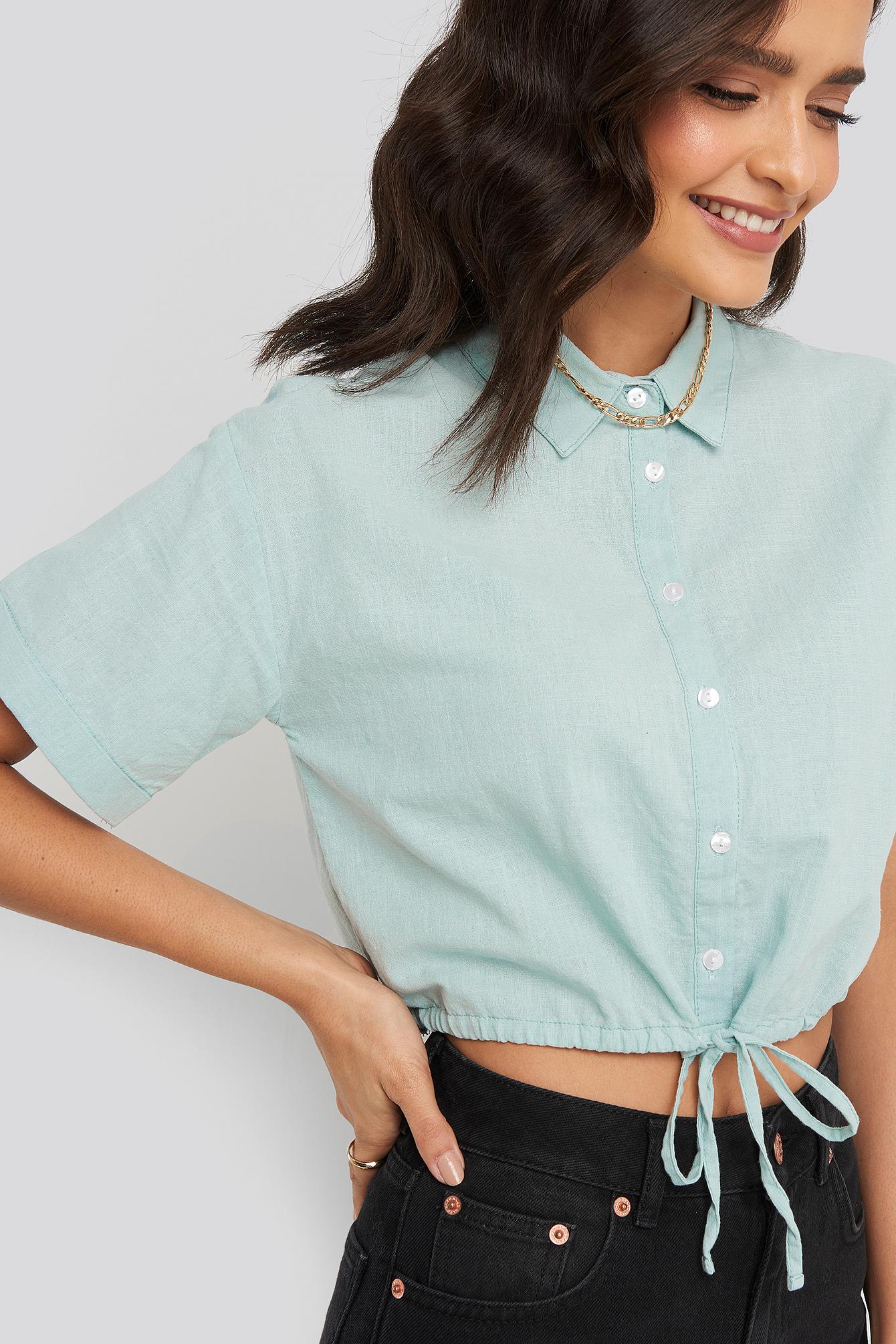 trendyol -  Mint Crop Shirt - Turquoise