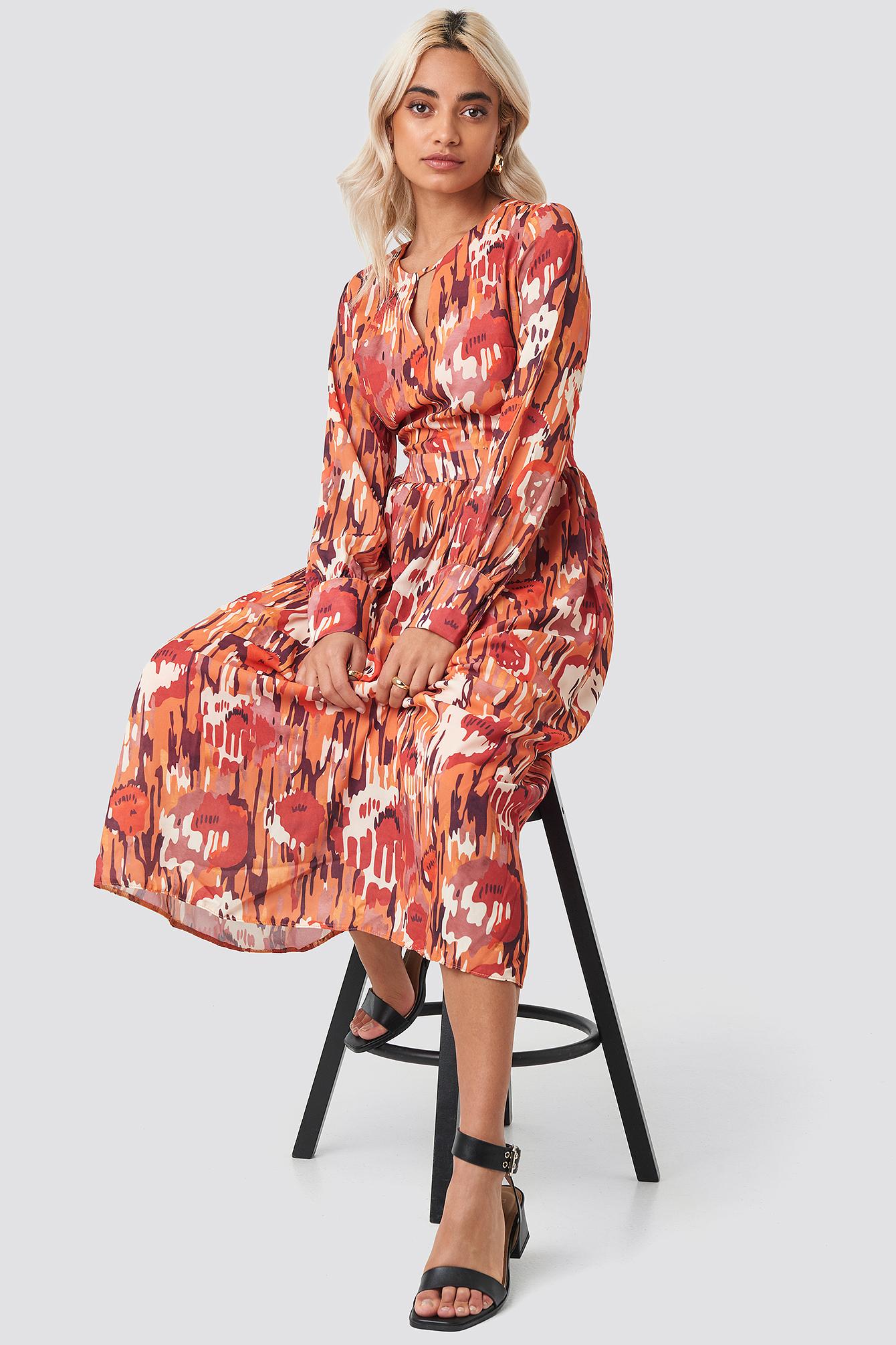 Multi-Colored Patterned Maxi Dress NA-KD.COM