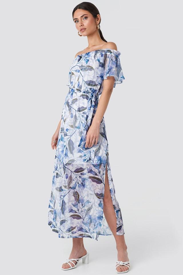 Multi Color Patterned Long Dress Multicolor