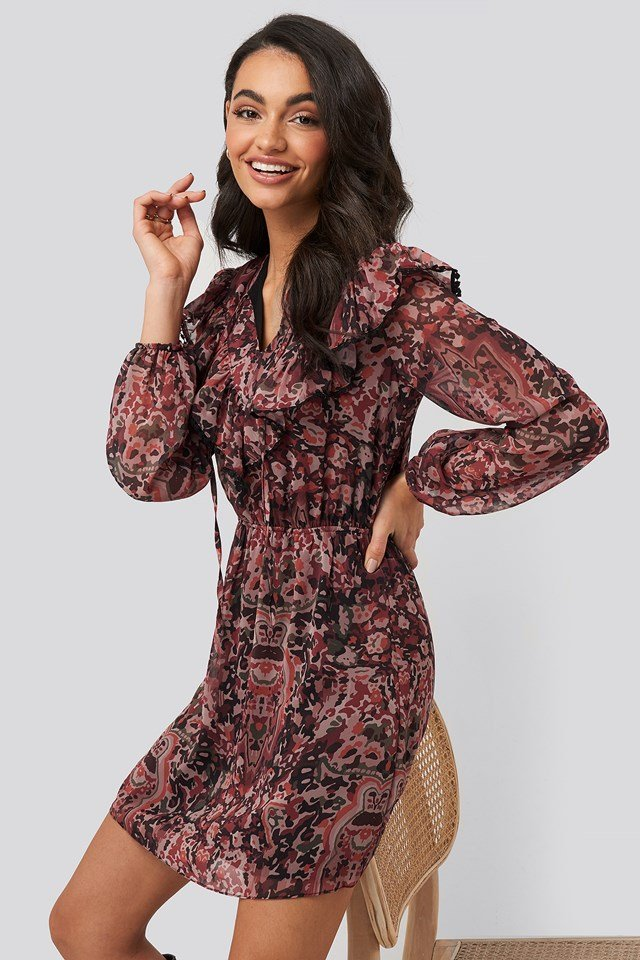 Multi Colored Frilly Mini Dress Trendyol