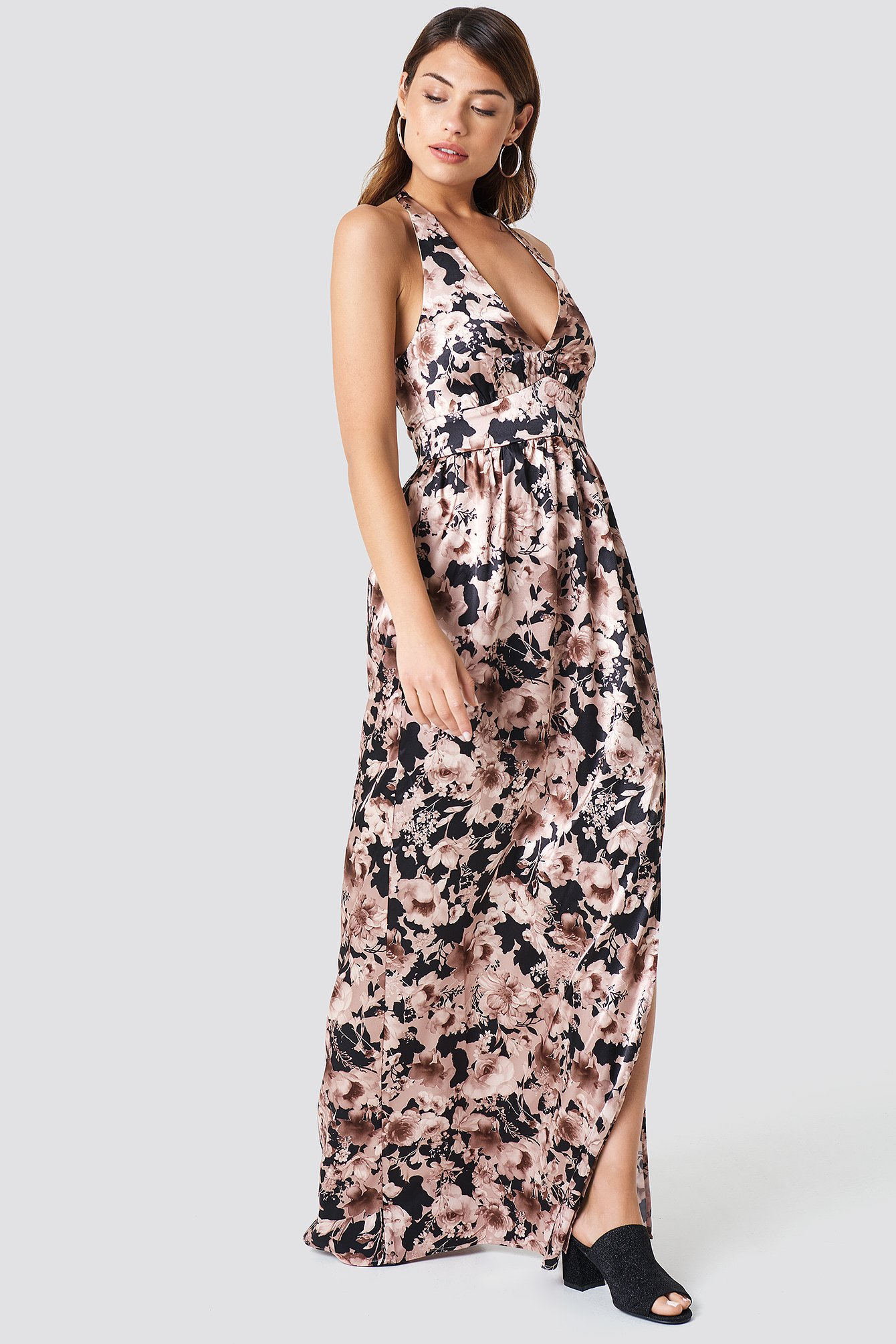Multi Flower Patterned Maxi Dress NA-KD.COM