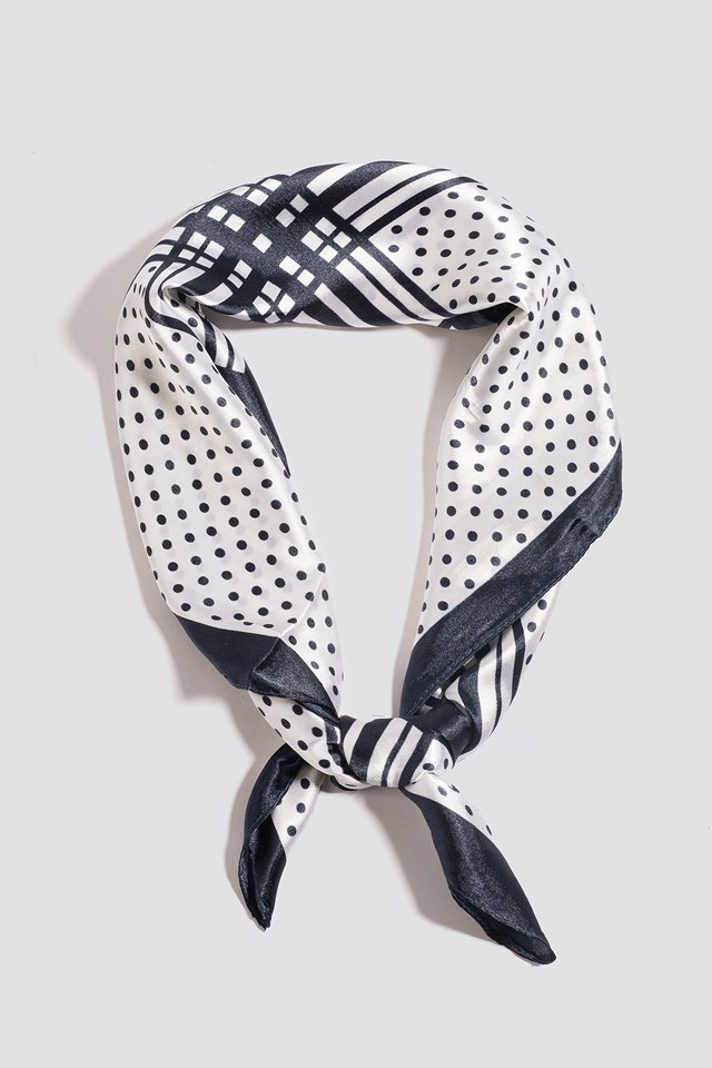 Multi-Patterned Shiny Scarf Navy
