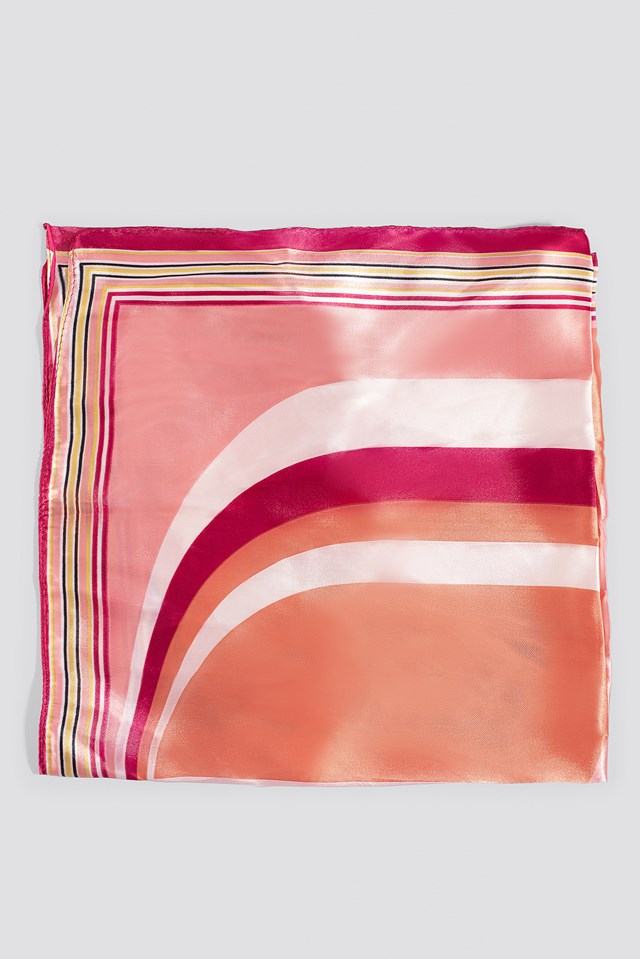 Multi Printed Shiny Scarf Pink