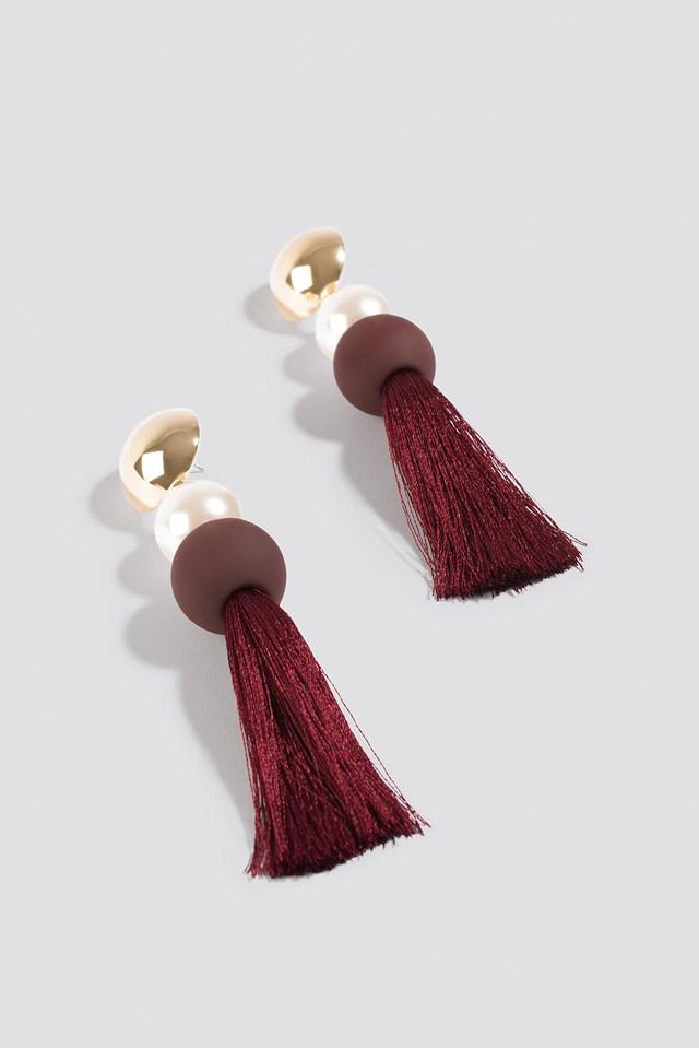 Multicolor Tassle Earrings Burgundy