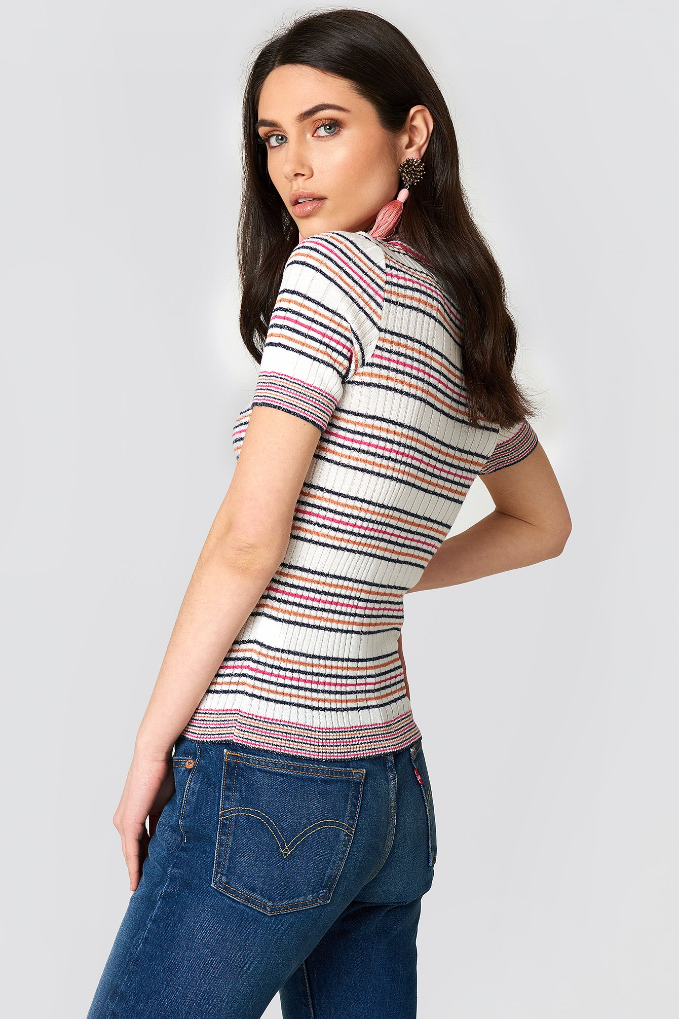 Multistriped Glitter Polo Top NA-KD.COM
