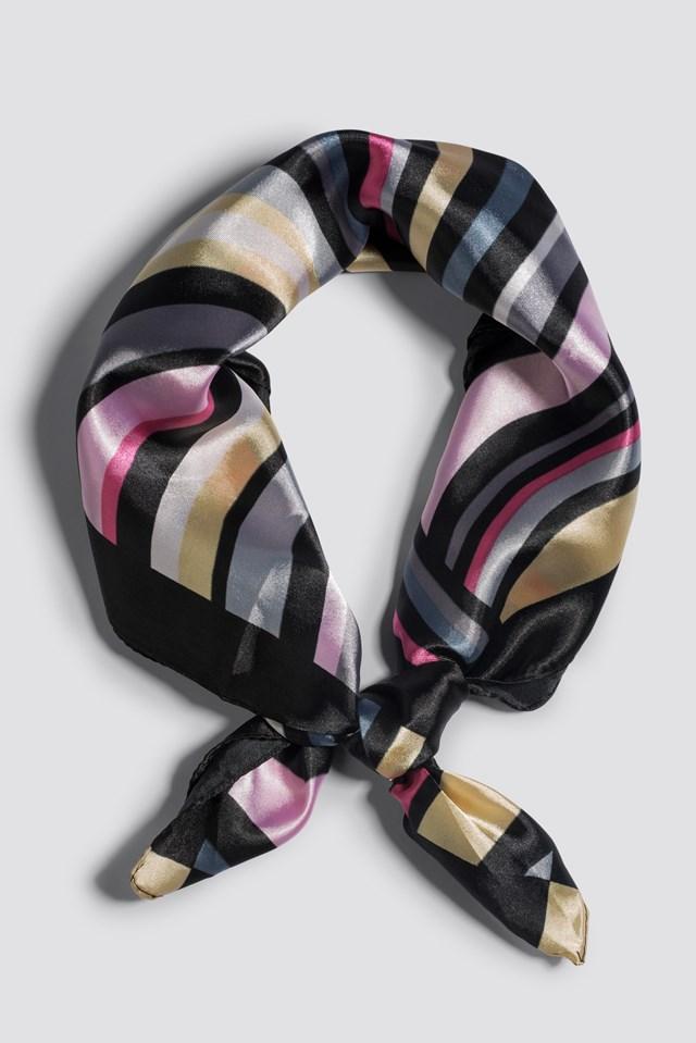 Multistriped Shiny Scarf Black