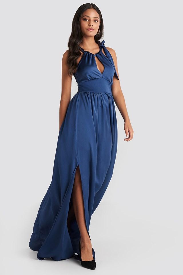 Neck Detailed Evening Dress Blue