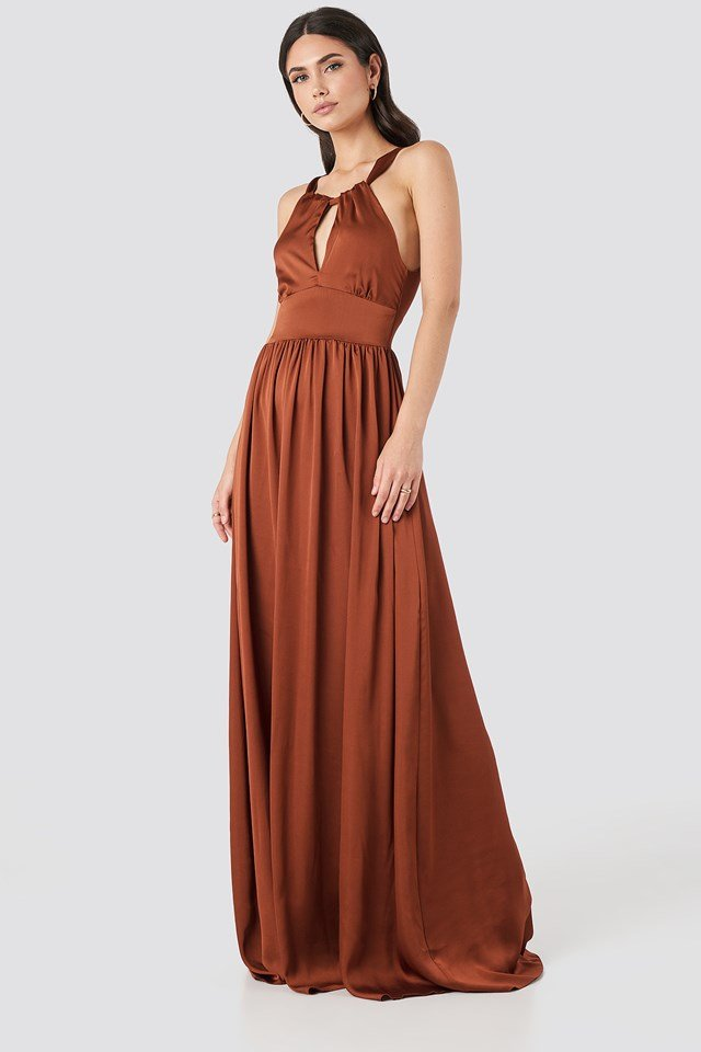 Neck Detailed Evening Dress Cinnamon