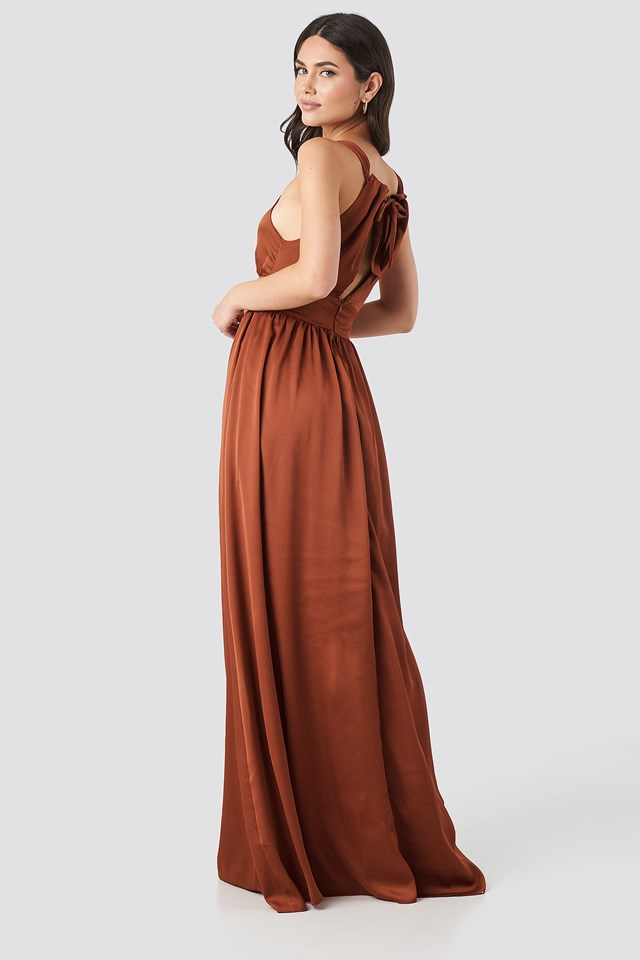 Neck Detailed Evening Dress Cinnamon