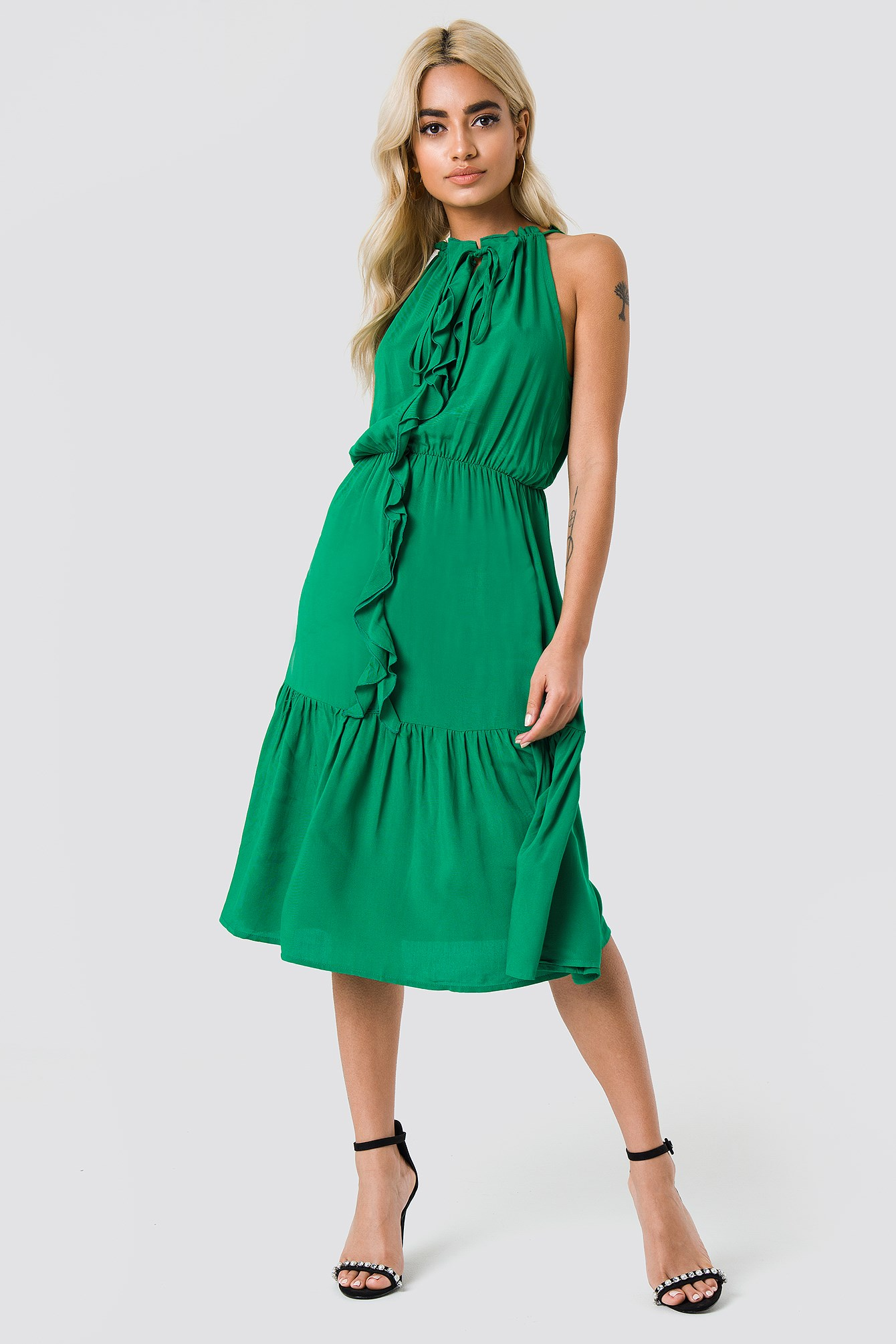 Neck Drawstring Midi Dress NA-KD.COM