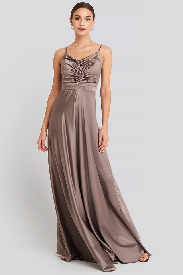 Neckline Detailed Evening Dress Brown