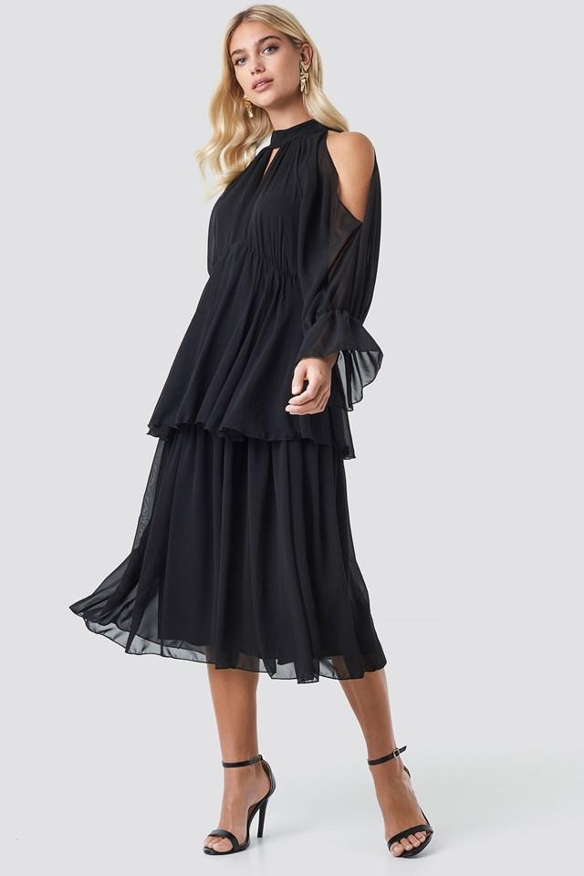 No Shoulder Long Sleeve Dress Black