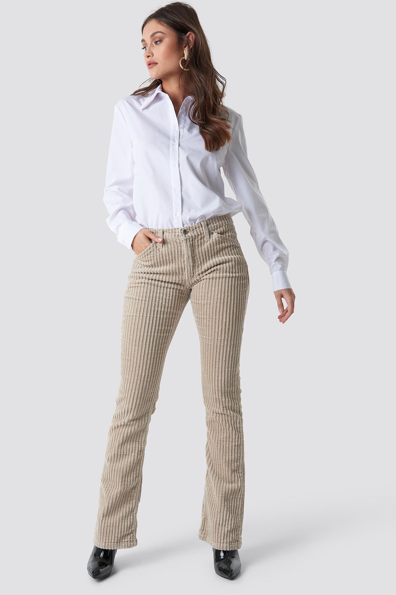 trendyol -  Normal Waist Velvet Flare Pants - Beige
