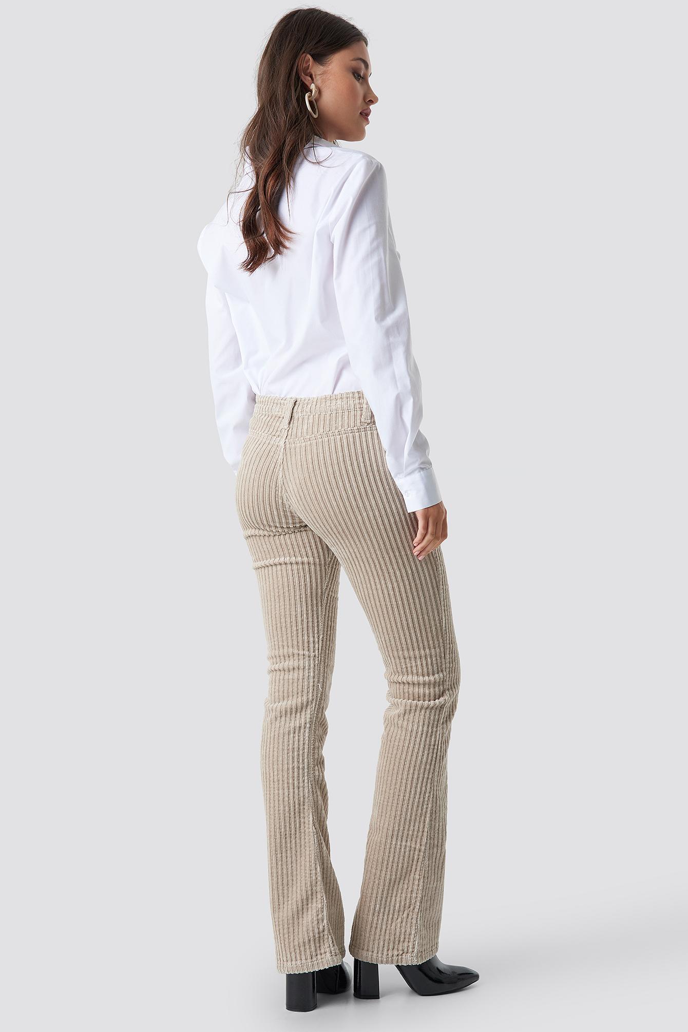 Normal Waist Velvet Flare Pants NA-KD.COM