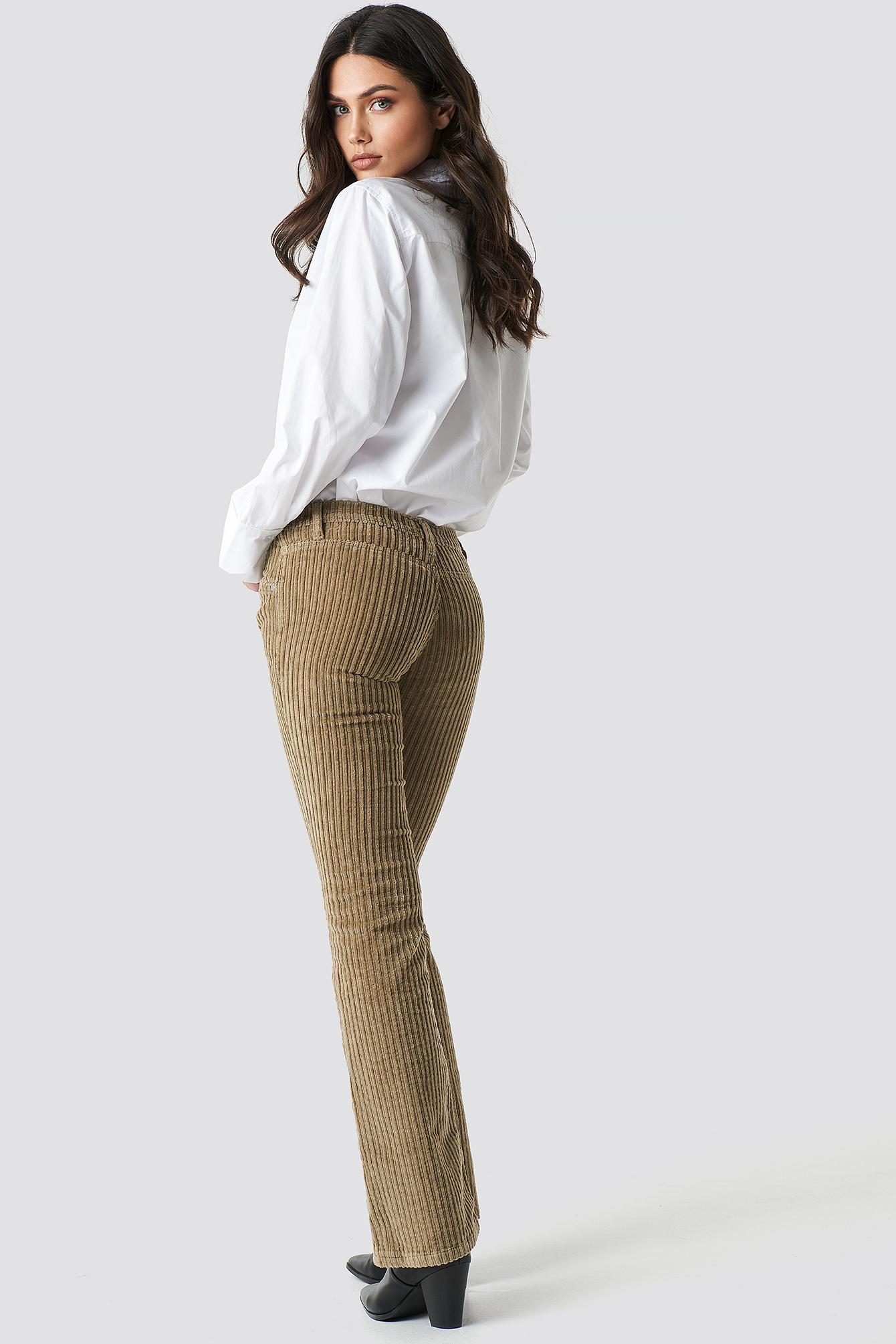 trendyol -  Normal Waist Velvet Flare Pants - Brown