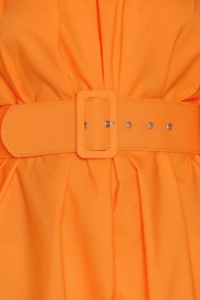 Off Shoulder Belt Dress Orange