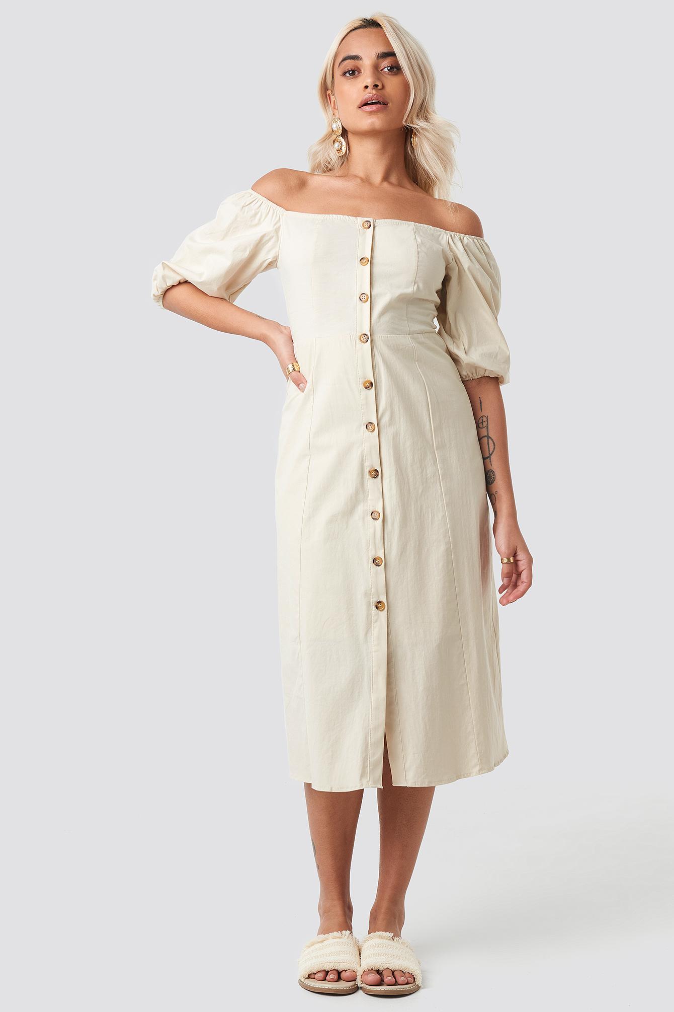 trendyol -  Off Shoulder Button Detail Midi Dress - Beige