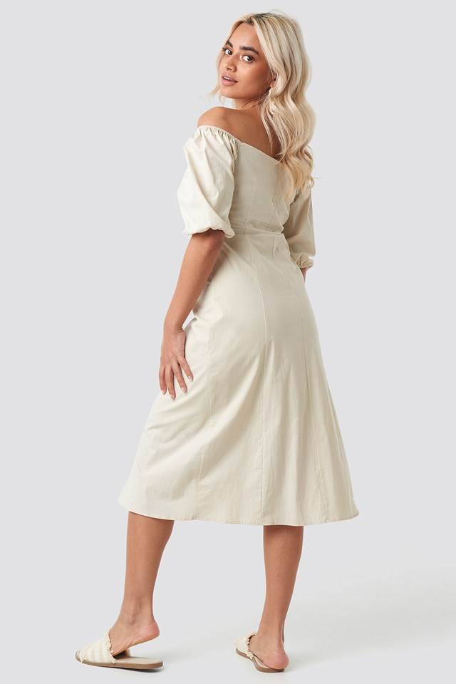 Off Shoulder Button Detail Midi Dress Beige