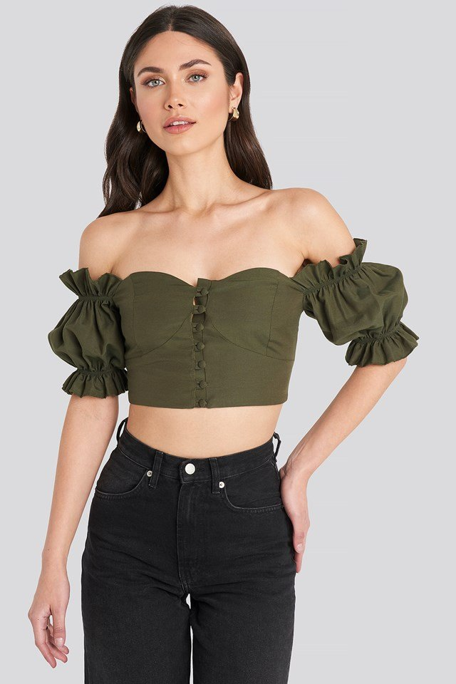 Off Shoulder Button Detailed Cropped Top Khaki