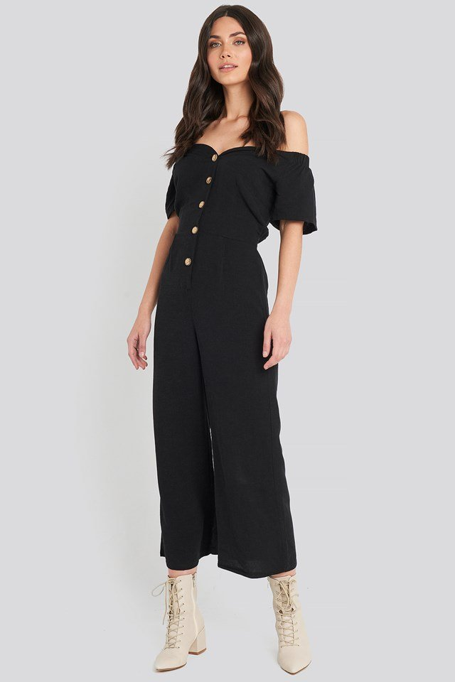 Off Shoulder Button Detailed Jumpsuit Black