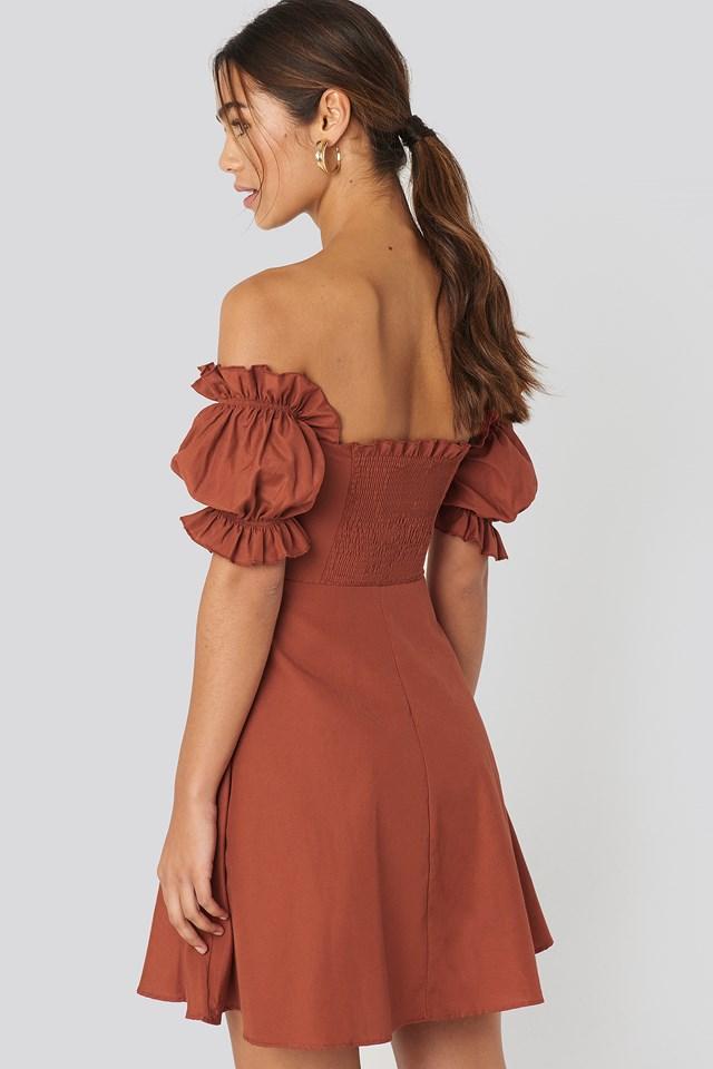 Off Shoulder Button Detailed Mini Dress Brick