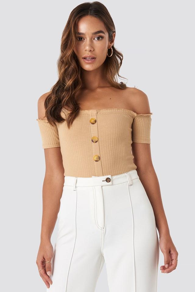 Off Shoulder Button Detailed Top Beige