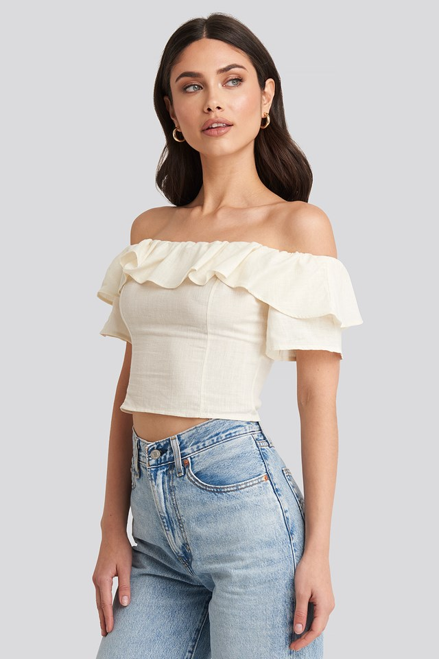 Off Shoulder Cropped Top White