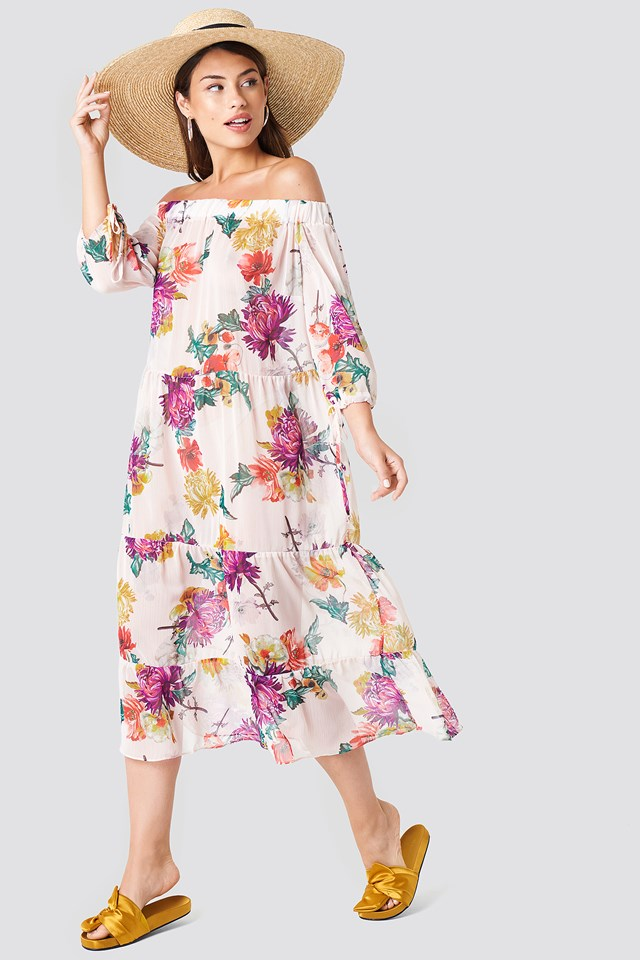 Off Shoulder Flower Dress Multicolor