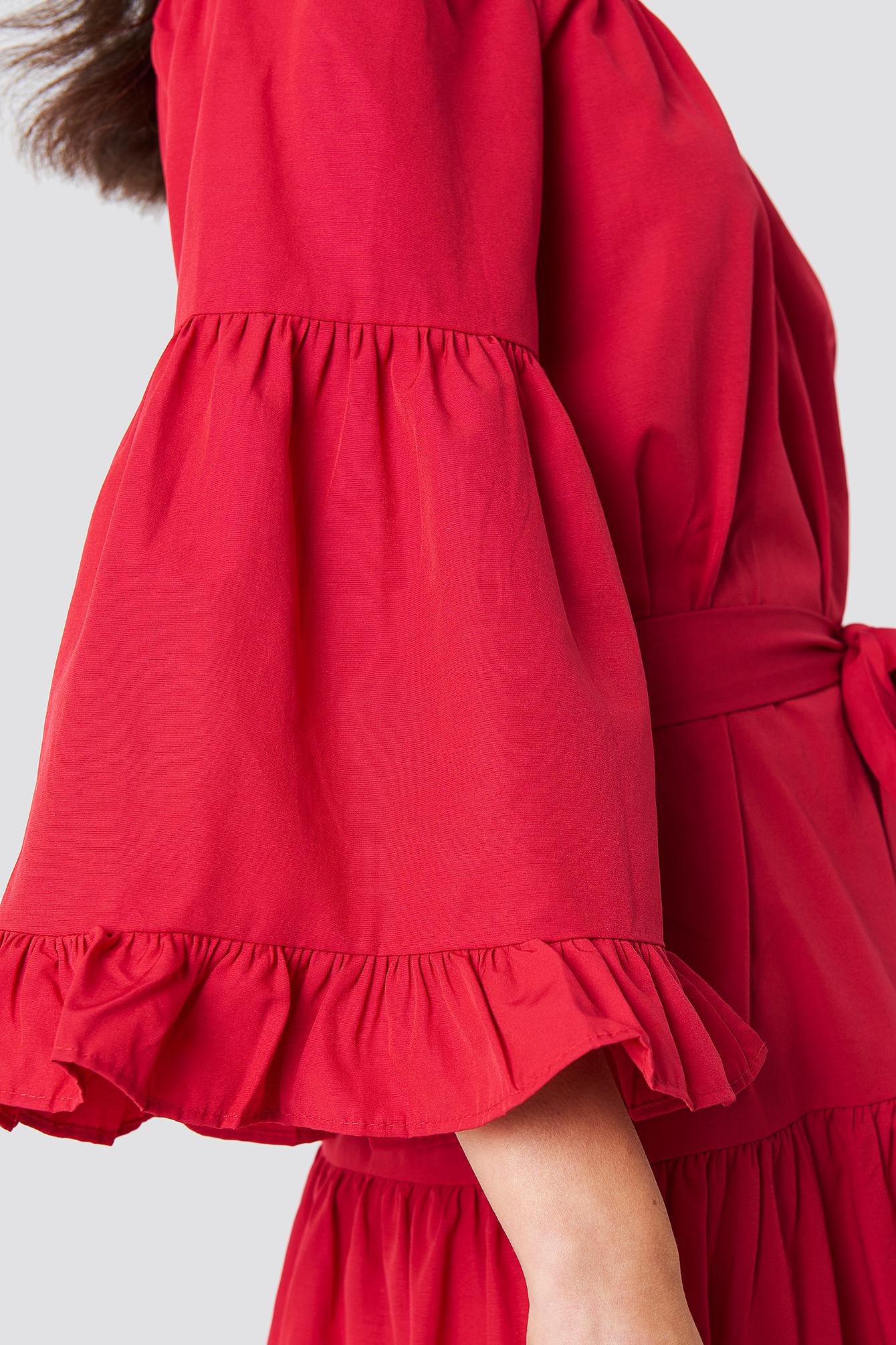 Off Shoulder Frill Midi Dress NA-KD.COM