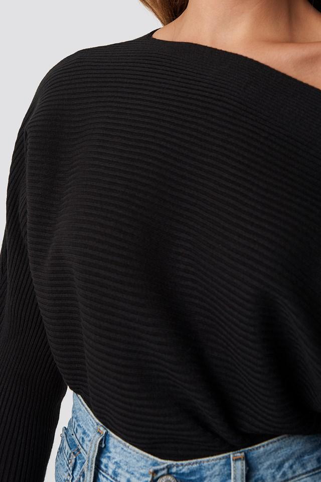 Off Shoulder Knitted Jumper Black
