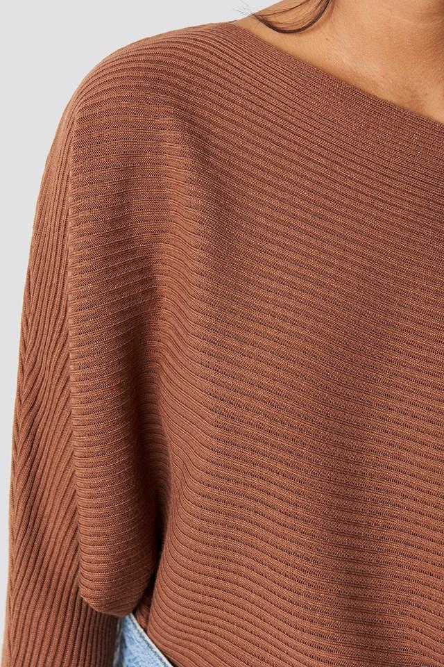 Off Shoulder Knitted Jumper Rust