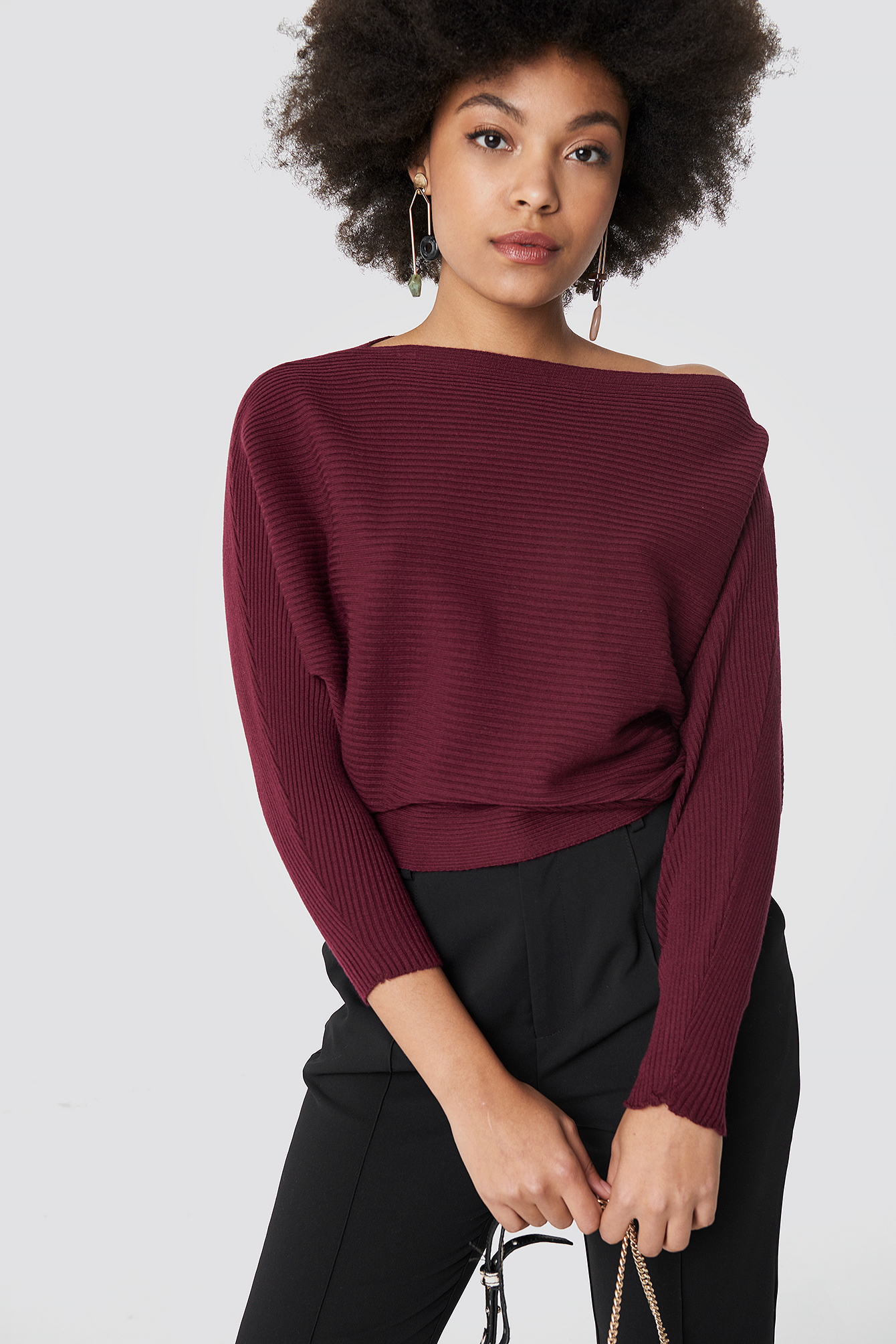 Off Shoulder Knitted Jumper NA-KD.COM
