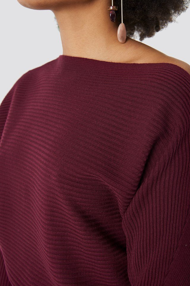 Off Shoulder Knitted Jumper Burgundy