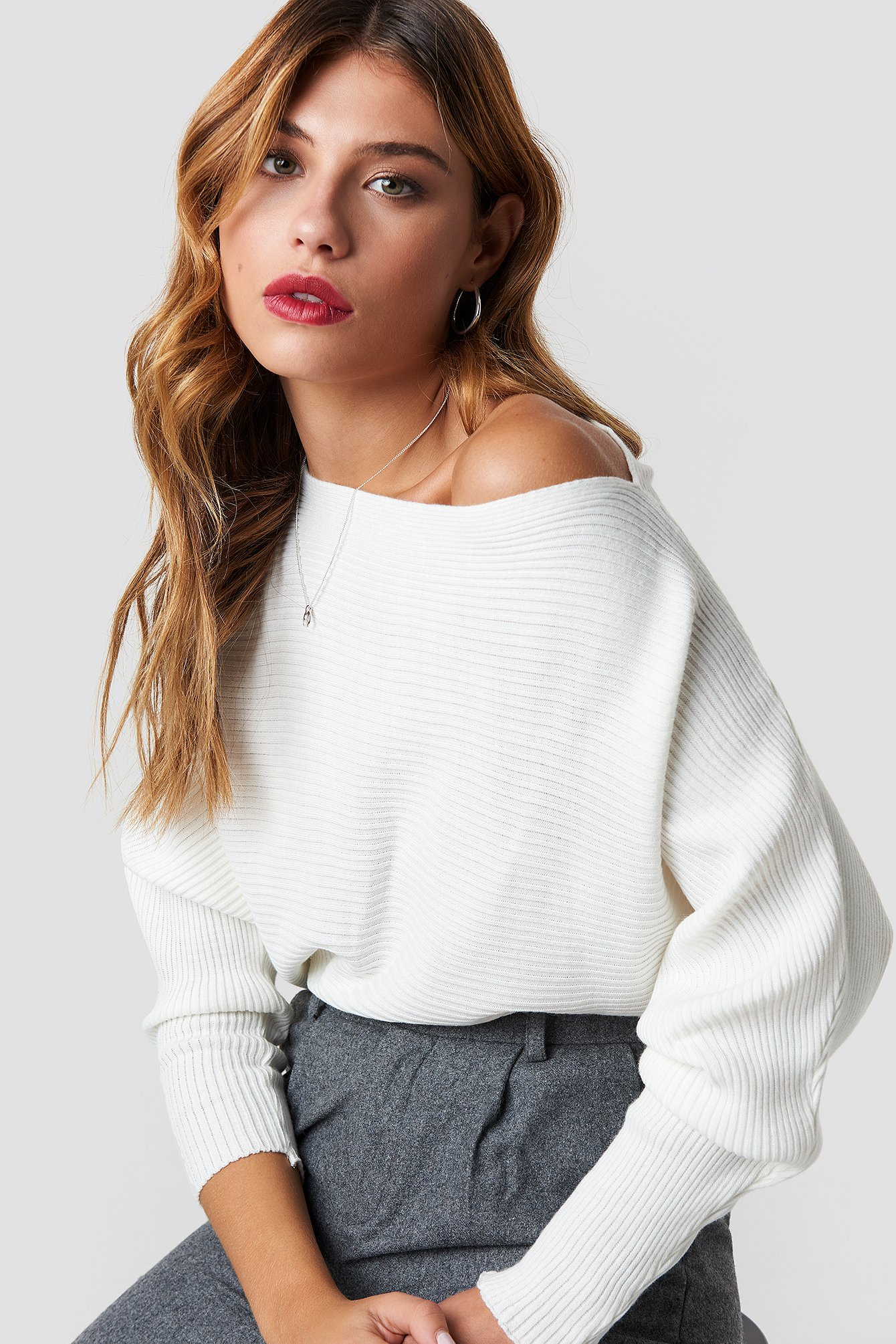 Off Shoulder Knitted Jumper Ecru  43d222100