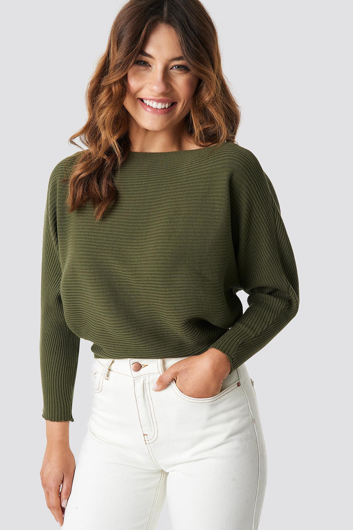 Off Shoulder Knitted Jumper NA-KD.COM