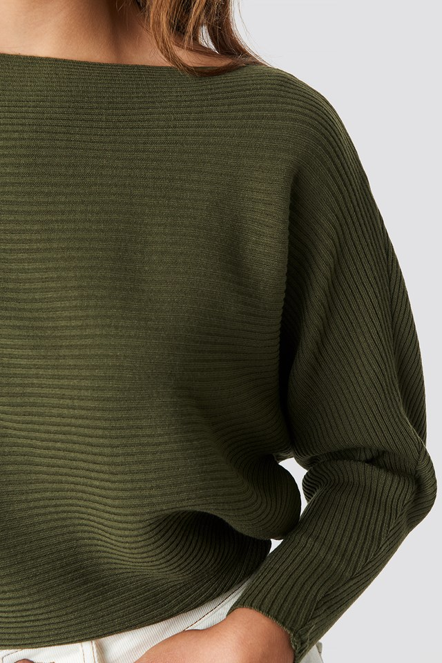 Off Shoulder Knitted Jumper Dark Green