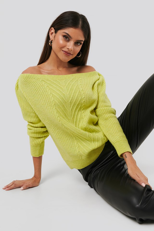 Off Shoulder Knitted Sweater Yellow