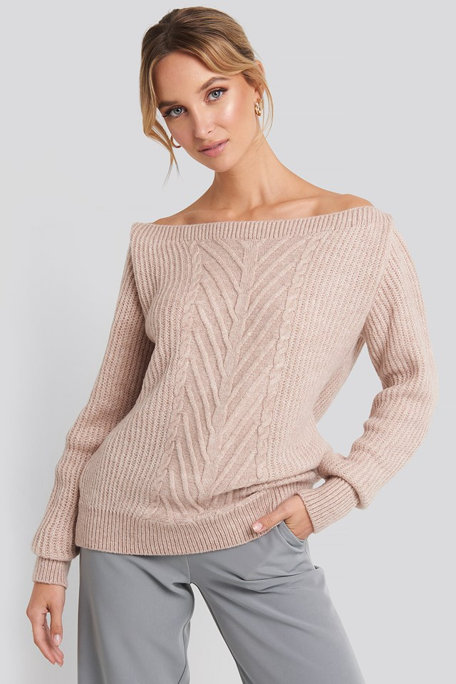 Off Shoulder Knitted Sweater Powder Pink