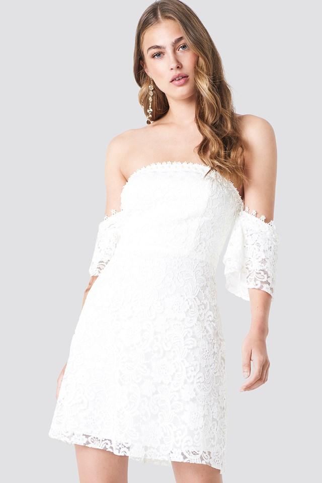 Off Shoulder Lace Mini Dress White