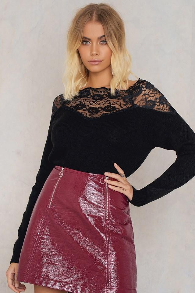 Off Shoulder Lace Sweater Black
