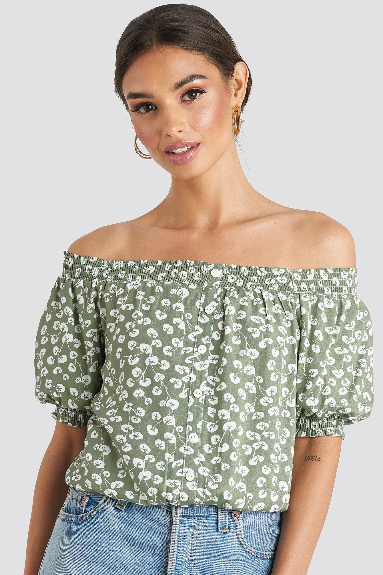 trendyol -  Off Shoulder Patterned Top - Green