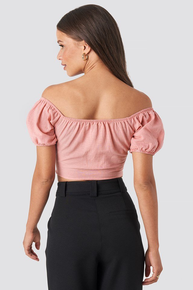 Off Shoulder Puff Sleeve Top Pink